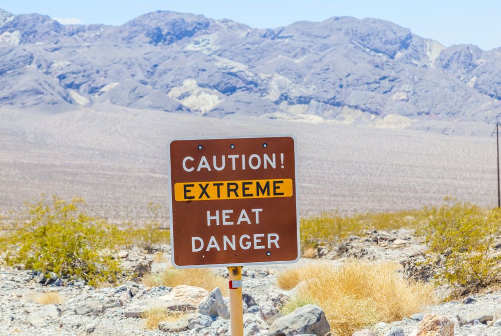 Extreme hitte in Death Valley