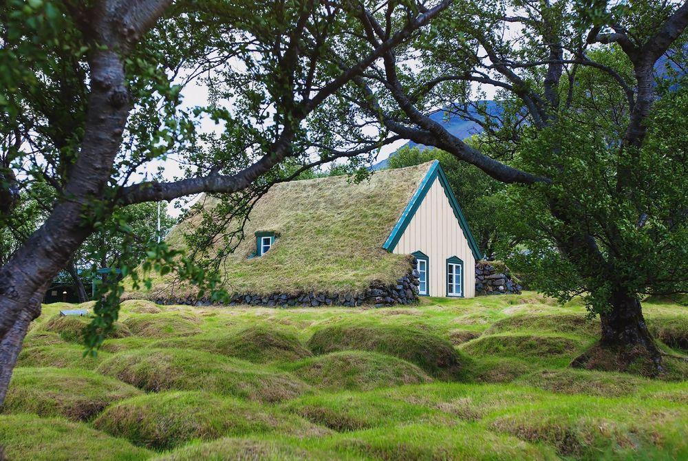 De laatste turf kerk in Hof, IJsland