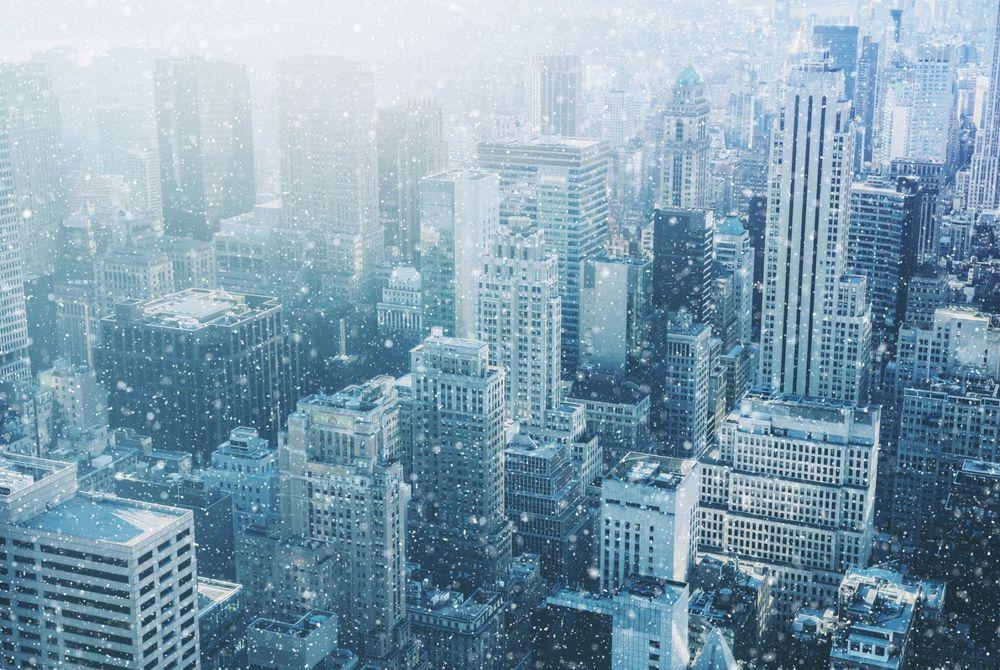 VIDEO: New York in de sneeuw gefilmd vanaf een paraplu